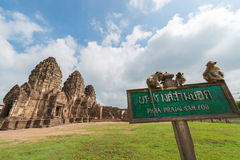 Phra Prang Sam Yot. Monkey and, ancient remains Lopburi thailand Royalty Free Stock Image