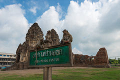 Phra Prang Sam Yot. Monkey and, ancient remains Lopburi thailand Royalty Free Stock Photo