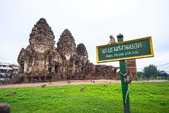 Phra prang Sam Yot. Is located at Tambon tha Hin mueang Lopburi, Thailand. Street Railway near San Phra Kan is a historical tourist attraction and one of the stock photography