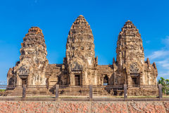 Phra Prang Sam Yot temple, ancient architecture. In Center Lopburi, Thailand Royalty Free Stock Photo