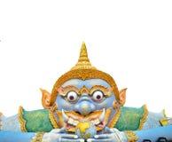 Phra Rahu雕象孤立在与空间的白色背景中您的 免版税库存照片
