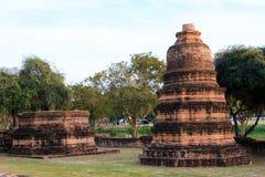 Phra Ram Temple (Wat Phra Ram) fördärvar i landskap av Ayutthaya, Thailand Fotografering för Bildbyråer