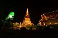 Phra Samut Chedi塔光在泰国 免版税库存照片