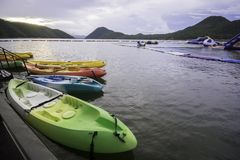 Kayaks on the river at Srinakarin Dam. Another area of beautiful natural in hotels and travel guide  Kanchanaburi thailand.scenery Stock Photos