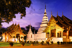 Phra Singh temple Chiang Mai Thailand. Phra Singh temple twilight time Viharn Lai Kam Wat Phra Singh is located in the western part of the old city center of Stock Photo