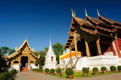 Phra Singh temple sunny day in Chiang Mai, Thailand. Royalty Free Stock Photo