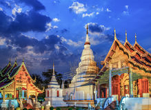 Phra Singh temple twilight time Viharn Lai Kam Wat Phra Singh Stock Photography