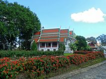 Phra Tamnak Phuping Rajanives, the main building of the Winter Palace , in the rose garden. Phuping Palace Royal winter residence in the mountains near Chiang royalty free stock photos
