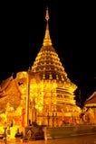 Phra Thart Doi Suthep晚上场面  免版税库存图片
