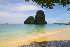 Phra nang beach on railay bay - Krabi - Thailand Royalty Free Stock Photo