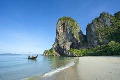 Phranang Beach Railay Krabi Thailand Longtail Boat Royalty Free Stock Image