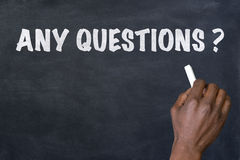 Phrase Any questions  written on blackboard Royalty Free Stock Image