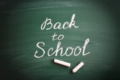 Phrase Back To School. On green school chalkboard Royalty Free Stock Photos