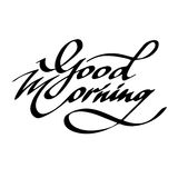 Phrase des gutenmorgens in der schwarzen Tinte auf einem weißen Hintergrund Stockbild