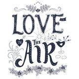 Phrase and elements about love. Love is in the air. Inspirational lettering quote. Hand drawn vintage design. Font with ornamental elements, and decor. Blue Stock Photography