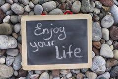 Phrase Enjoy your life on blackboard Stock Photography