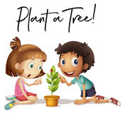 Phrase expression for plant a tree with kids and tree Royalty Free Stock Photography