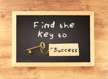 The phrase - find the key to success written on blackboard.  Royalty Free Stock Photography