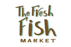 Phrase of  The fresh fish market brown and blue color. Vector lettering of text The fresh fish market on watercolor spot. Modern calligraphy.Template of logotype Royalty Free Stock Photography