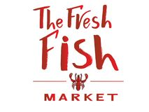 Phrase of  The fresh fish market red color with illustration of lobster. Vector lettering of text The fresh fish market on watercolor spot. Modern calligraphy Royalty Free Stock Photography