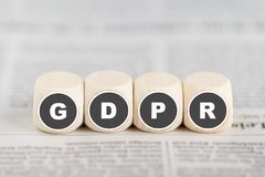 The phrase GDPR on cubes Royalty Free Stock Photo