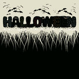 The phrase halloween and bats. Illustration.The phrase halloween and bats on a beige background. Half of the image on a black background Stock Images