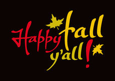 Phrase 'Happy fall y'all!'. Original custom hand lettering. Design element for greeting cards, invitations, prints. Raster clip art Stock Image