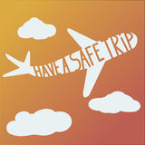Phrase have a safe trip on plane Stock Images