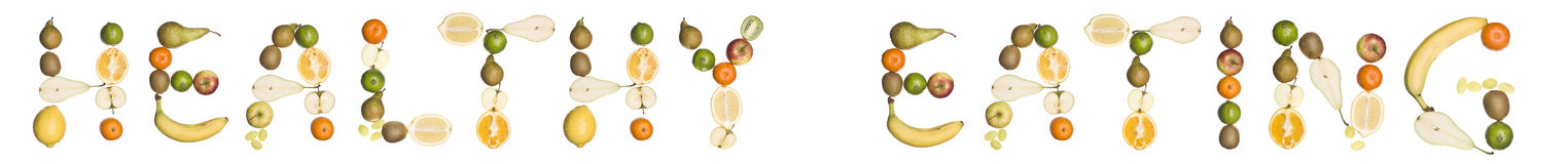 The phrase 'Healthy eating' made out of fruit Royalty Free Stock Images