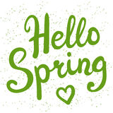 Phrase Hello Spring brush pen lettering Stock Photos