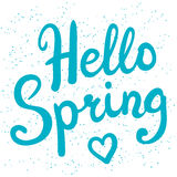 Phrase Hello Spring brush pen lettering Stock Images