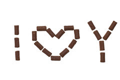 Phrase I love you made of chocolate candy Royalty Free Stock Photography
