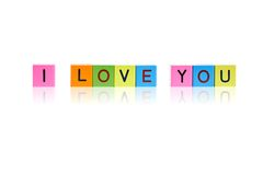 Phrase I LOVE YOU from wooden blocks Royalty Free Stock Images