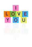 Phrase I LOVE YOU from wooden blocks Royalty Free Stock Photos