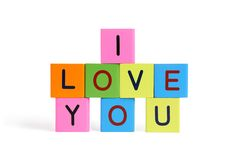 Phrase I LOVE YOU from wooden blocks Royalty Free Stock Photo