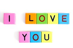 Phrase I LOVE YOU from wooden blocks Stock Images