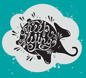 Phrase Keep flying with cute elephant. Royalty Free Stock Photo
