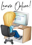 Phrase learn online with girl working on computer Royalty Free Stock Images
