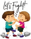 Phrase ließ ` s mit Kämpfen mit zwei dem verärgerten Jungen kämpfen stock abbildung