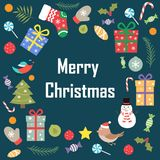 The phrase of merry Christmas on a blue background  Royalty Free Stock Images
