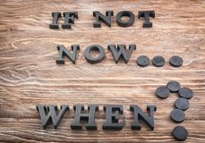 Phrase Is not now. When? composed from letters on wooden table. Time management concept stock image