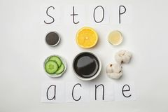 Phrase. `Stop acne` and homemade effective problem skin remedy on white background Stock Photography