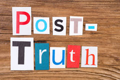 Phrase `Post-Truth` in cut out magazine letters Royalty Free Stock Image