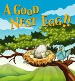 Phrase on poster for good nest egg Stock Photos