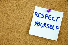The phrase Respect Yourself in red text on a lined index card pinned to a cork notice board as reminder. Businnes concept Stock Photography