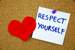 The phrase Respect Yourself in red text on a lined index card pinned to a cork notice board as reminder Royalty Free Stock Photography