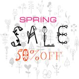 Phrase Spring Sale 50% off. Vector illustration EPS10. Colorful design for poster, card, invitation. Easy editable for design vector illustration