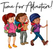 Phrase time for adventure with group of hikers. Illustration Stock Image