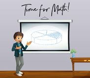 Phrase time for math with math teacher in classroom. Illustration Stock Photography