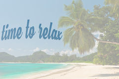 Phrase Time to relax on Tropical beach background Stock Photo